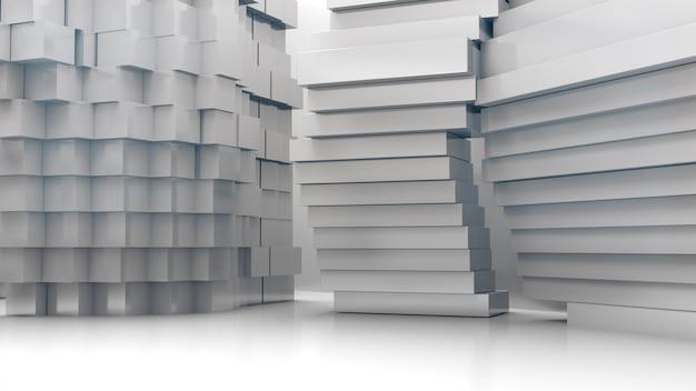 抽象的な建築構造、製品のショーケース、抽象的な空スペース。3dレンダリング