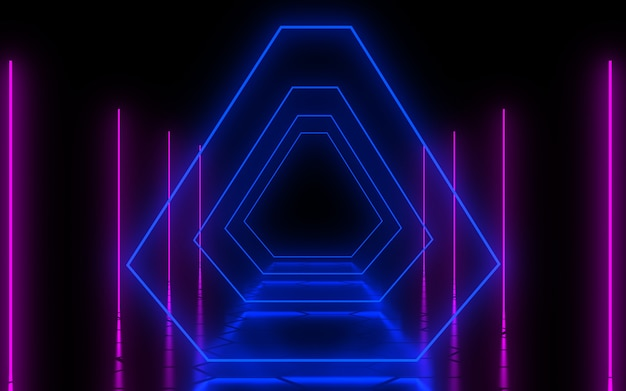 Abstract architecture tunnel with neon light. 3d illustration