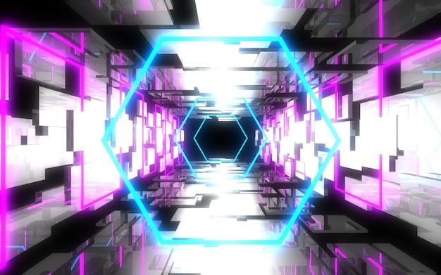 ネオンライト付きの抽象的な建築トンネル。 3dイラスト