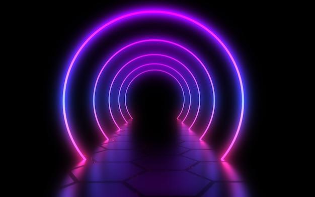 네온 빛으로 추상 아키텍처 터널입니다. 3d 그림