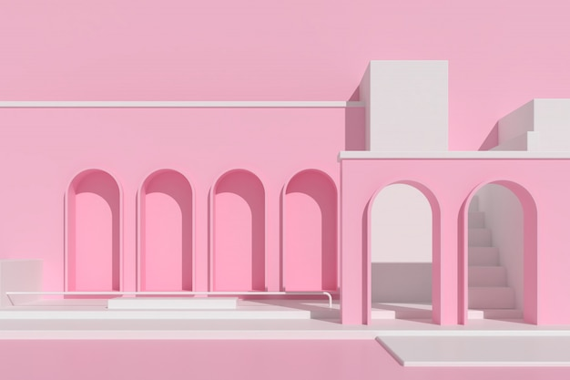 Abstract architecture with staircase on pink background.