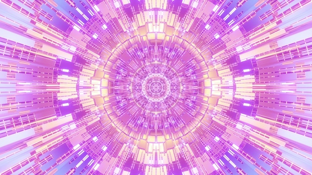 Abstract art 4k uhd 3d illustration visual futuristic background design with symmetrical lines and cells forming circular geometric ornament