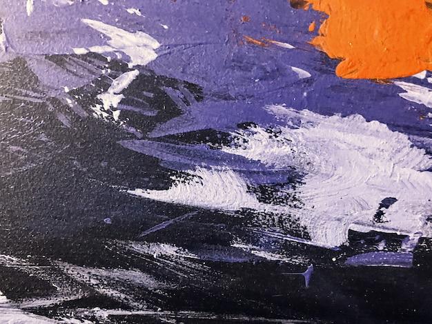 抽象芸術の背景の黒と濃い紫の色。白のグラデーションでキャンバスに水彩画。ブラシストロークパターンのアクリルテクスチャ背景。