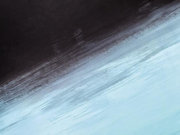추상 미술 배경 검정과 밝은 파란색 색상입니다. 검은색 그라데이션이 있는 캔버스에 수채화 그림입니다. 아크릴 질감