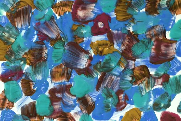 추상 미술 배경 밝은 파란색과 갈색 색상입니다. 녹색 선과 스플래시가 있는 캔버스에 수채화 그림. 점박이 패턴이 있는 종이에 아크릴 아트웍입니다. 질감 배경입니다.