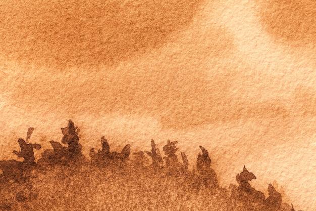Абстрактное искусство фон коричневого и оранжевого цветов. акварельная живопись на грубой бумаге
