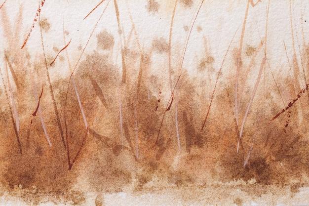 Абстрактное искусство фон коричневого и белого цветов. акварельная живопись на грубой бумаге