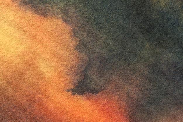 抽象芸術の背景の暗いオレンジとグレーの色、キャンバスに水彩画。