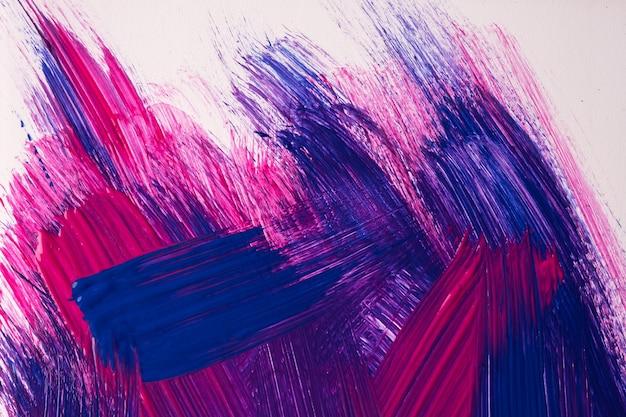 추상 미술 배경은 짙은 보라색과 남색입니다. 흰색 선과 스플래시가 있는 캔버스에 수채화 그림. 브러시 스트로크 패턴이 있는 종이에 아크릴 아트웍입니다. 질감 배경입니다.