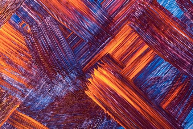 抽象芸術の背景の濃い赤と紺色。オレンジ色のストロークとスプラッシュとキャンバス上の水彩画。ブラシストロークパターンの紙にアクリルアートワーク。テクスチャの背景。