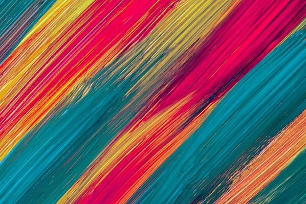 抽象芸術の背景の濃い黄色、紫、ターコイズ色。ストロークとスプラッシュとキャンバス上の水彩画。斑点模様の紙にアクリルアートワーク。テクスチャの背景。