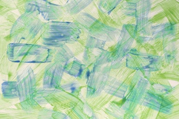 추상 미술 배경 밝은 파란색과 녹색 색상. 생생한 컬러 스트로크와 스플래시가있는 캔버스에 수채화 그림