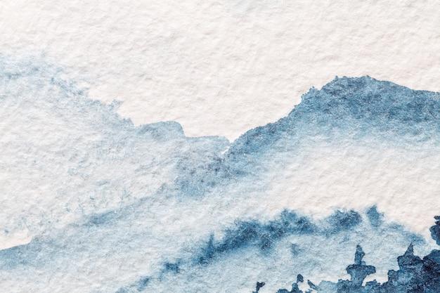 추상 미술 배경 밝은 파란색과 흰색 색상. 캔버스에 수채화 그림.