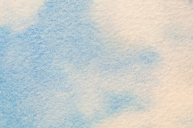 Abstract art background light blue and white colors. watercolor painting on canvas with soft sky gradient. fragment of artwork on paper with cloud pattern. texture backdrop.