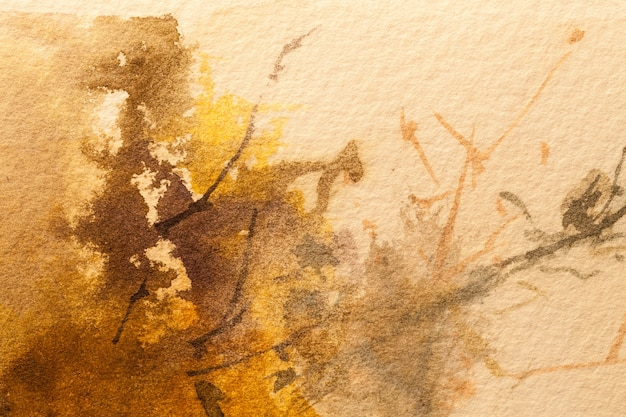 Абстрактное искусство фон светло-коричневого и оранжевого цветов. акварельная живопись на холсте с мягким бежевым градиентом. фрагмент картины на бумаге с рисунком. фон текстуры.
