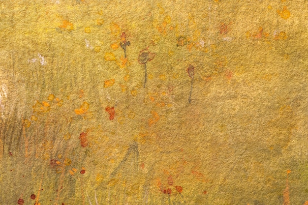 Abstract art background light yellow and orange colors. watercolor painting on canvas with red stains and gradient.