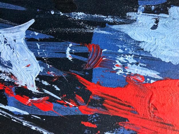 추상 미술 배경 네이비 블루와 레드 색상입니다. 검은색 그라데이션이 있는 캔버스에 수채화 그림입니다. 아크릴 질감