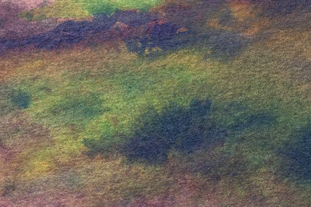 Abstract art background navy blue and green colors. watercolor painting on canvas.