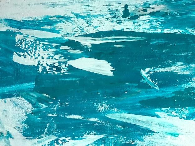 추상 미술 배경 청록색과 흰색 색상입니다. 세룰리언 그라데이션이 있는 캔버스에 수채화 그림입니다. 브러시 스트로크 패턴으로 아크릴 질감 배경입니다.