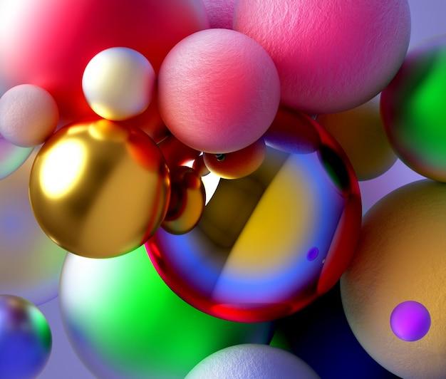 明るい色で大小のお祝いパーティーボールのシュールなミックスで抽象芸術の背景