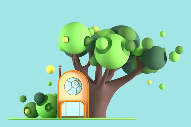 Abstract art-cartoon tiny house on the background of a green concept of a tree and bushes on a blue background.3d illustration
