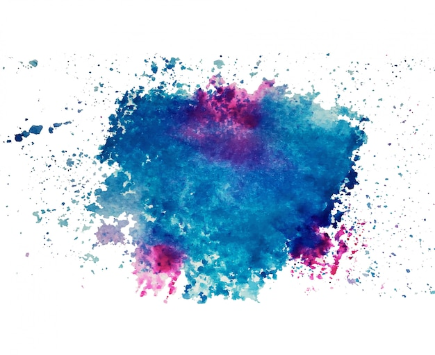 Abstract art of colorful bright ink and watercolor textures on white paper background.