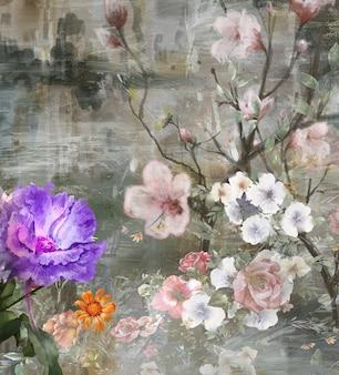 抽象芸術のカラフルな花の絵。春の色とりどりのイラスト