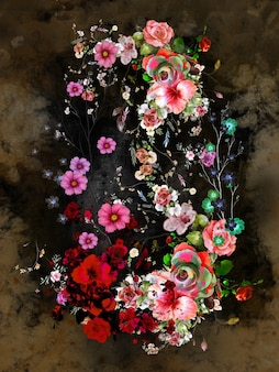 抽象芸術のカラフルな花の絵。