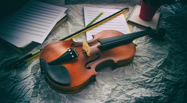 The abstract art design background of violin put on background