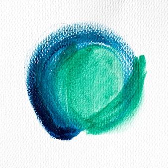 Абстрактное искусство зеленой и синей краской пятно