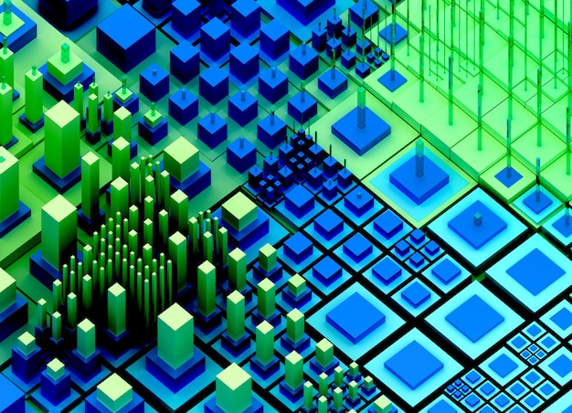 アブストラクトアートナノテクノロジーまたは小さなビッグで教えられたキューブボックスまたはバーを備えた超現実的なビッグデータ