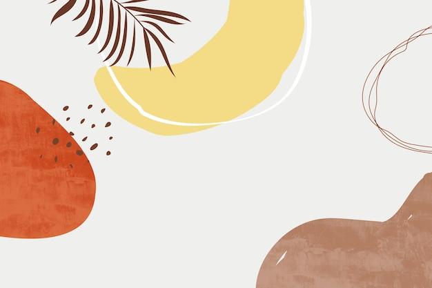 파스텔 색상 배경으로 추상 미술 그림입니다. 미니멀리스트 기하학적 요소와 손으로 그린 선. 세기 중반 스칸디나비아 북유럽 스타일.