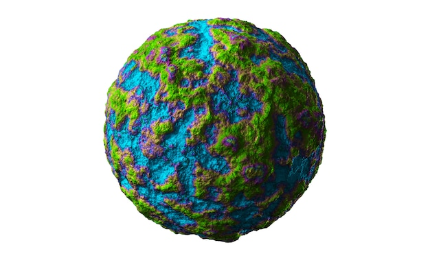 Abstract art of surreal 3d stone ball sphere or planet earth, moon, or asteroid with damages and scratches with green and blue arts. 3d render.