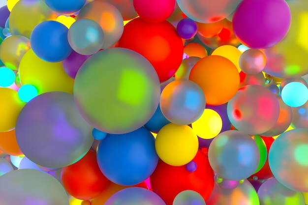 Abstract art of surreal background with party color balls or balloons in rainbow color
