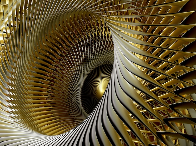 Abstract art of surreal  with part of turbine aircraft jet engine with sharp curve blades in gold material