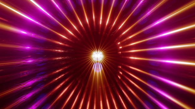 Abstract art visual background 4k uhd 3d illustration of bright glowing rays forming symmetric circular ornament in red and violet neon colors