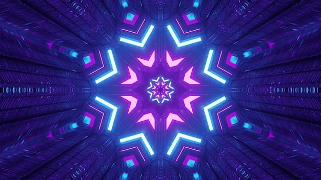 Abstract art visual background 4k uhd 3d illustration of fantastic tunnel interior design with shiny neon lights forming geometric snowflake shaped ornament with reflections
