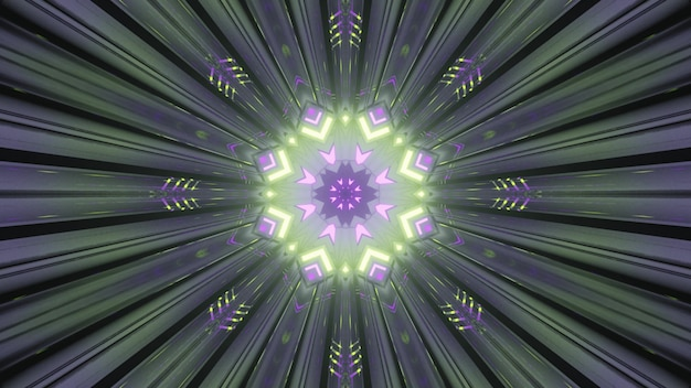 추상 예술 시각적 배경 4k uhd 3d 그림 원근법은 대칭 기하학적 디자인과 환상적인 화려한 패턴을 만드는 빛나는 네온 조명이 있는 둥근 모양의 터널 내부입니다.