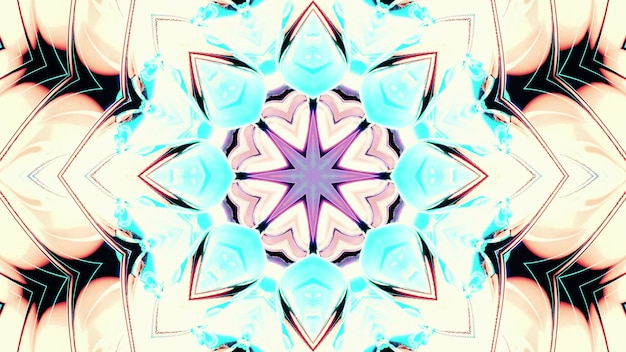 Abstract art visual background 4k uhd 3d illustration of symmetric kaleidoscope pattern with geometric star in center and blinking flower shaped ornament