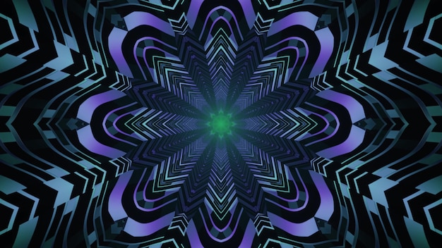 Abstract art visual background 4k uhd 3d illustration with repetitive flower shaped neon ornament forming endless futuristic tunnel perspective with light reflections