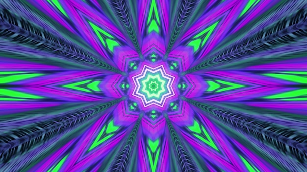 Abstract art visual background 4k uhd 3d illustration with symmetric kaleidoscopic flower shaped ornament in bright neon colors