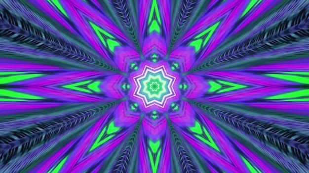 밝은 네온 색상의 대칭 만화경 꽃 모양의 장식이 있는 추상 미술 시각적 배경 4k uhd 3d 그림