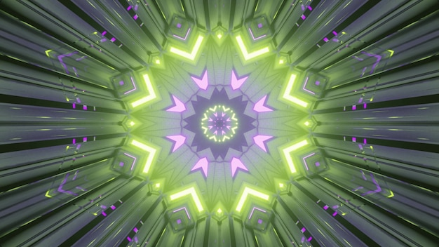 Abstract art visual background 4k uhd 3d illustration with symmetrical circular geometric ornament glowing in colorful neon lights creating perspective effect of endless tunnel