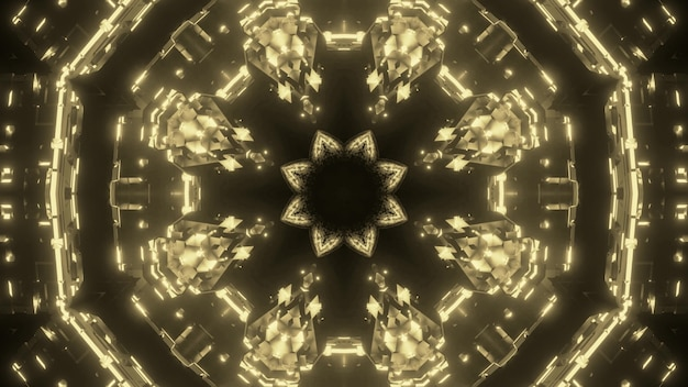 Abstract art visual background with golden crystal kaleidoscopic geometric ornament with light effects