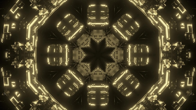 빛나는 황금 기하학적 장식으로 추상 미술 시각적 미래 배경 환상적인 게이트웨이