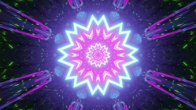 Abstract art visual futuristic background with shiny neon geometric flower shaped ornament and stripes with light effect