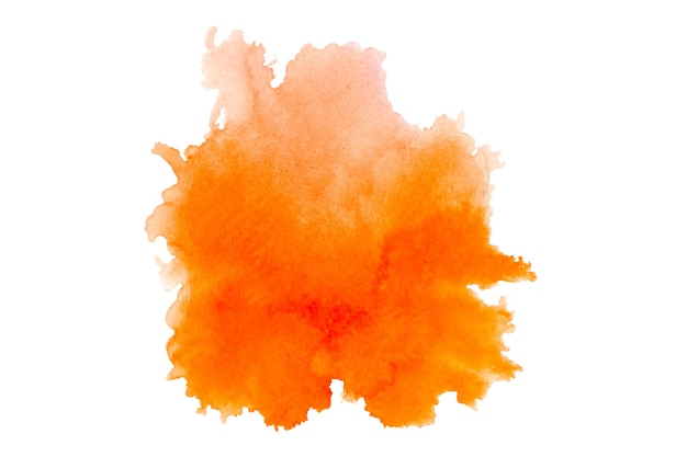 白い背景色オレンジの抽象芸術水彩絵の具