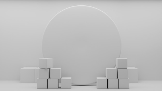 Abstract art white geometric podium tradition podium.3d rendering