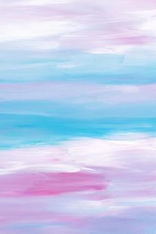 Абстрактный художественный фон, мазки кистью синий, розовый, белый на бумаге
