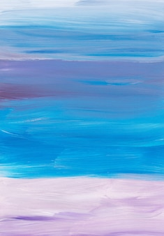 Abstract artistic background, blue, purple, beige, white brush strokes on paper